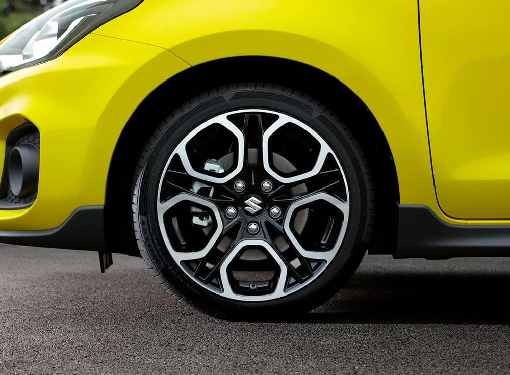 Shot of the alloy wheels on the Swift sport
