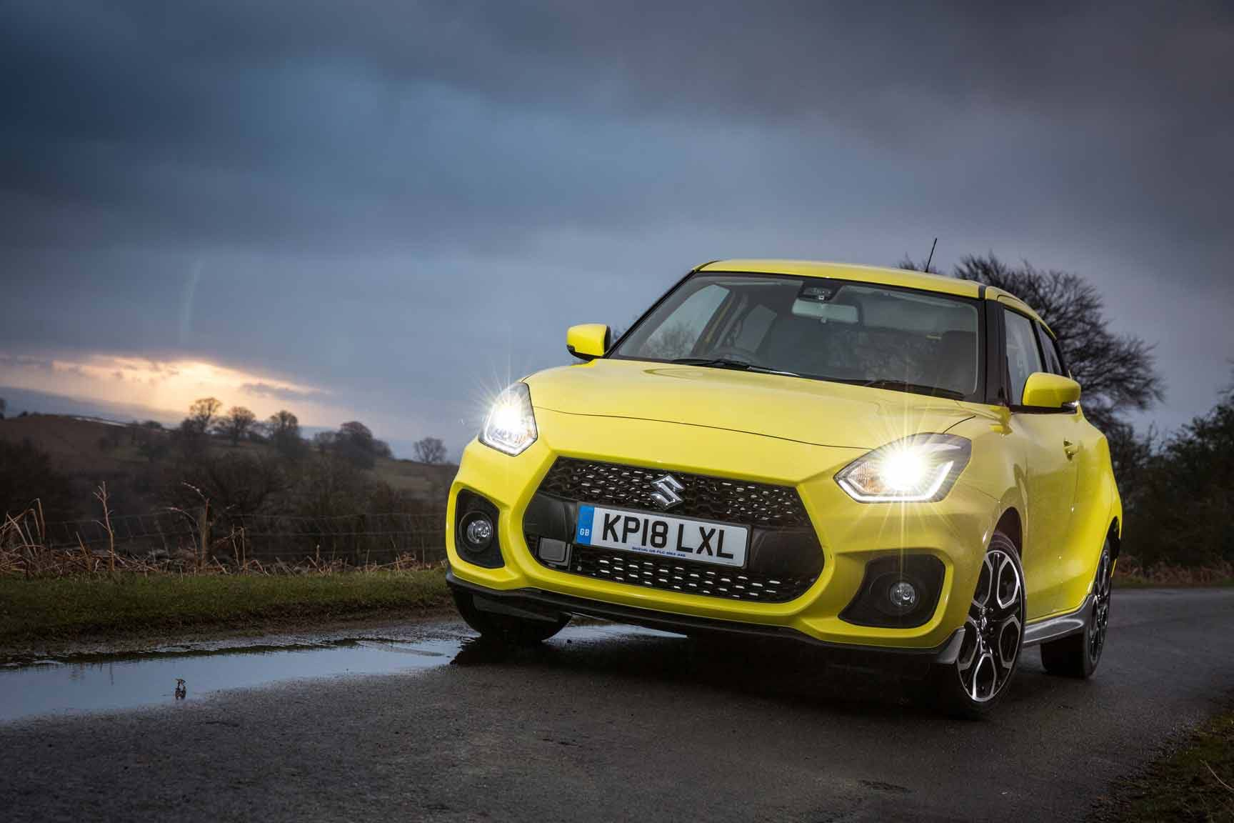 The Swift Sport on gloomy country road