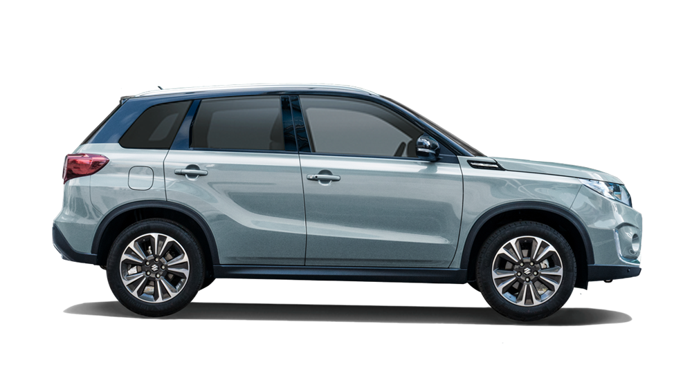The Vitara in Icey Greyish Blue with the roof in Cosmic Black