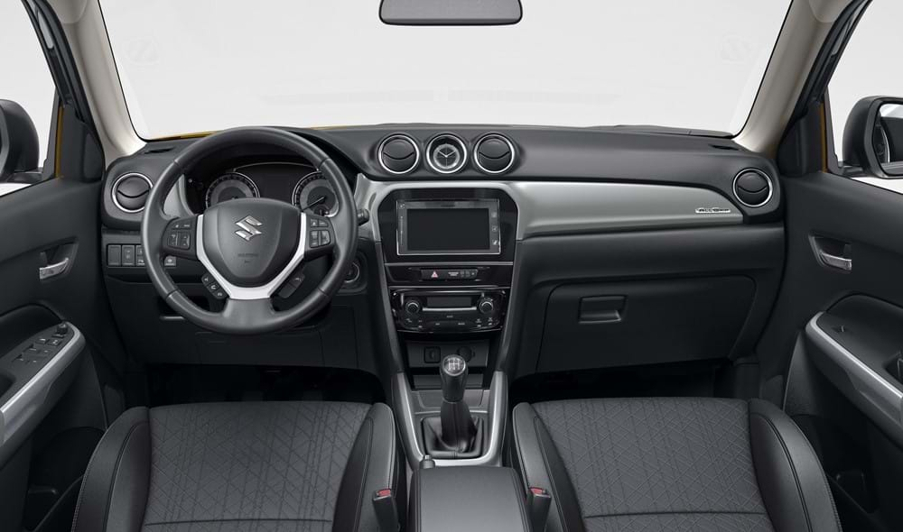 The interior of the front two seats in the Vitara