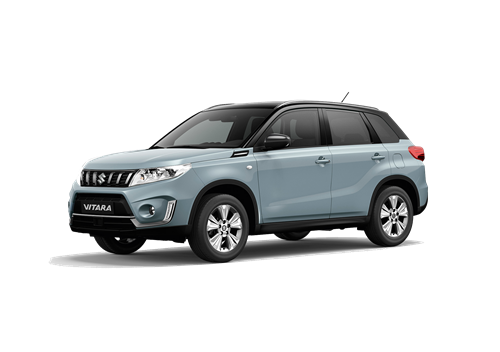 The Vitara SZ-T in Icey Greyish Blue with roof in Cosmic Black