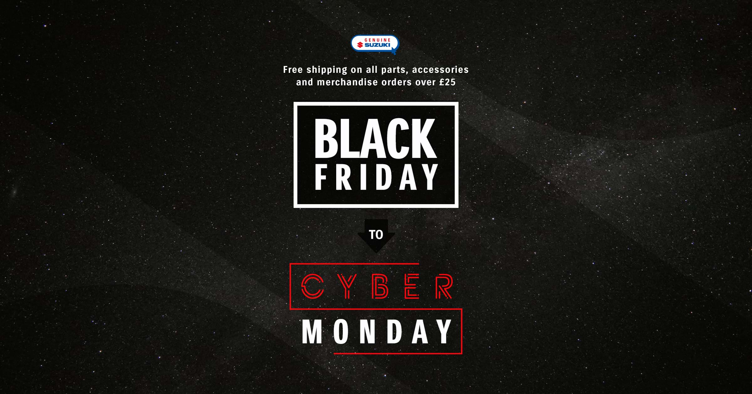 Free shipping from Black Friday to Cyber Monday on Suzuki merchandise
