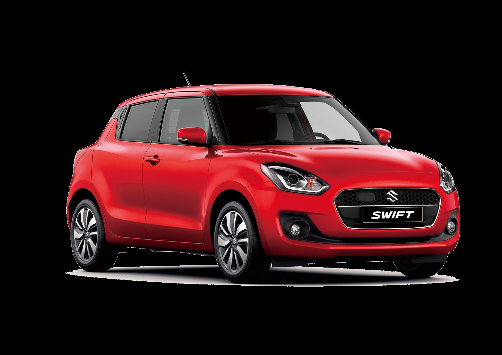 A red Suzuki Swift on a white background