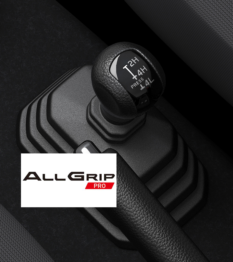 Shot of a gear stick with the ALLGRIP PRO logo