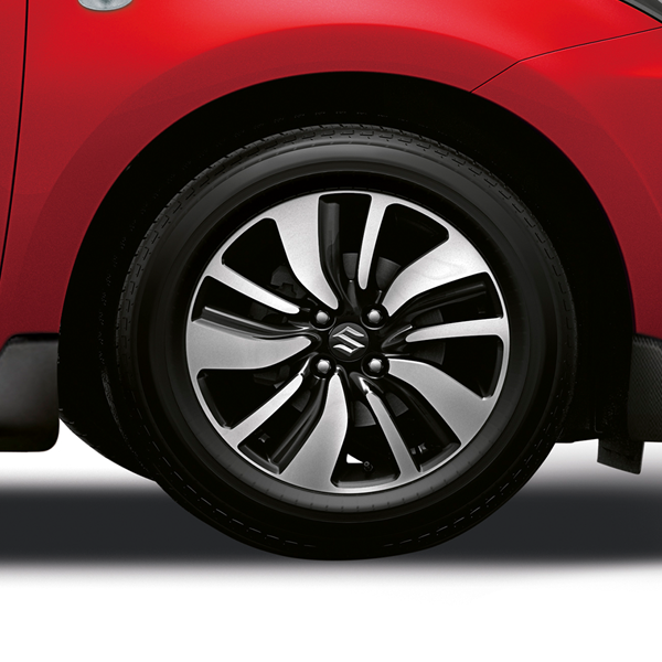 Close up of alloy wheels on the Swift Attitude