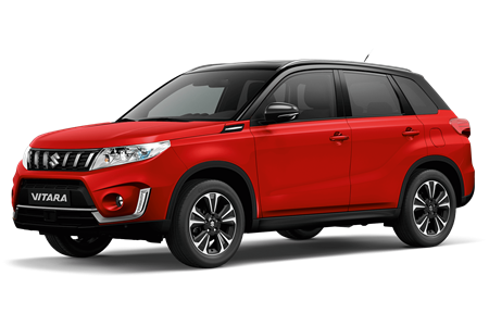 The Vitara SZ5 in Bright Red with the roof in Cosmic Black