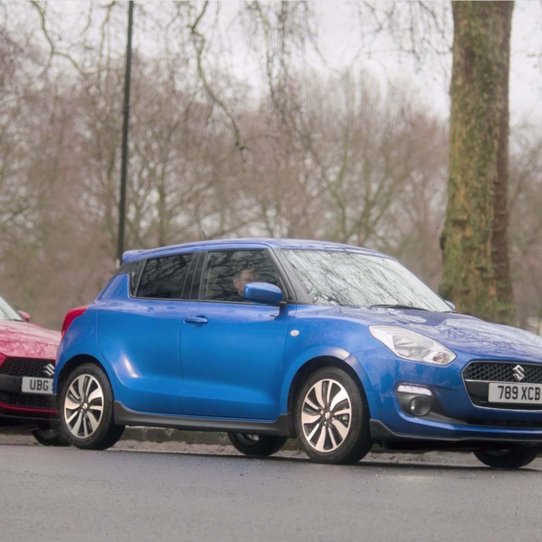 Suzuki Swift cars in blue and red