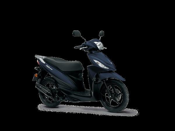 Front three quarter view of dark blue Suzuki Address scooter. Side on view of blue Suzuki Address scooter.