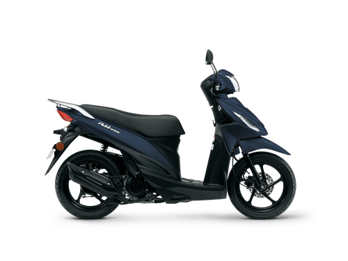 Side view of dark blue Suzuki Address scooter, a great way to get to work.