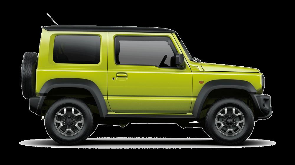 Side of Suzuki Jimny SZ4 in green on a white background