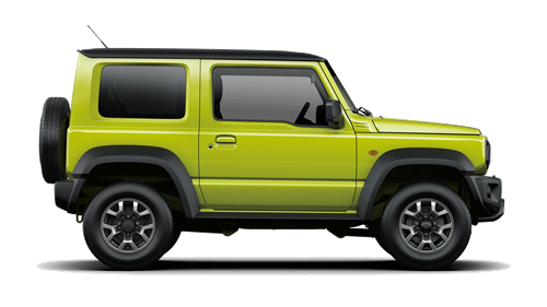 Side of Suzuki Jimny SZ4 in green on a white background