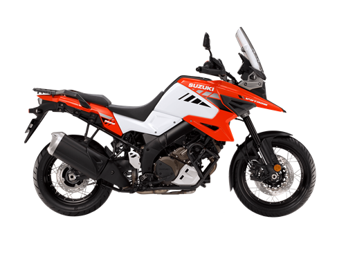 Suzuki V-Strom 1050XT Orange and White side on. The Master of Adventure, the best all round adventure bike