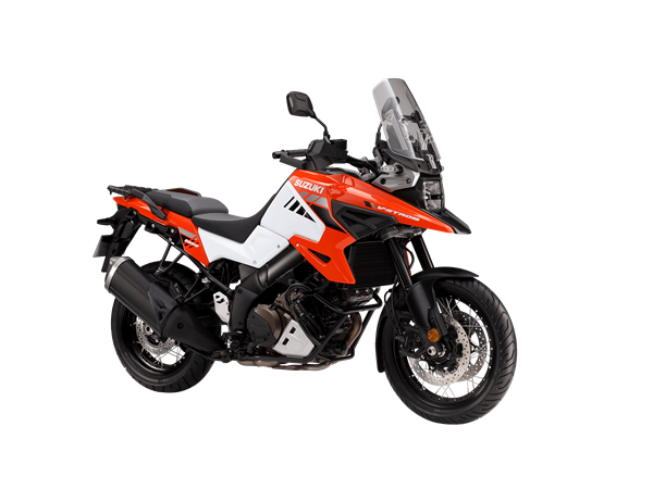 Suzuki V-Strom 1050XT Orange and White. The best all round adventure motor bike.