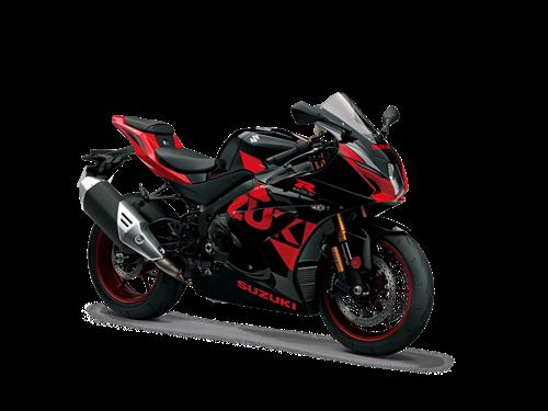 Red and Black Suzuki GSX-R1000R Supersport motor bike front three quarter