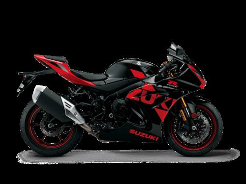 Red and Black Suzuki GSX-R1000R Supersport motor bike side on
