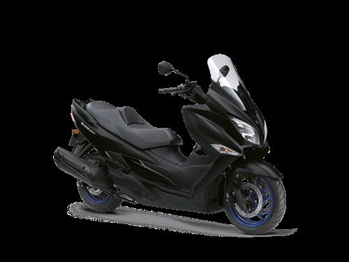 Suzuki Burgman 400 black. Front three quarter. The ultimate urban bike, a great way to commute.