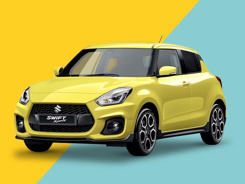 A Suzuki Swift sport on a yellow and blue background