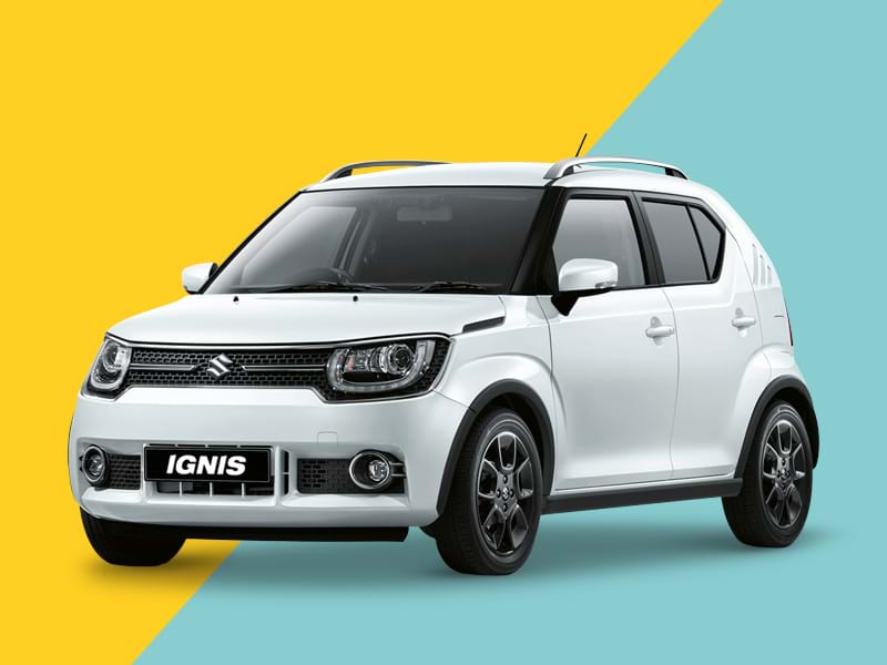 A Suzuki Ignis on a yellow and blue background