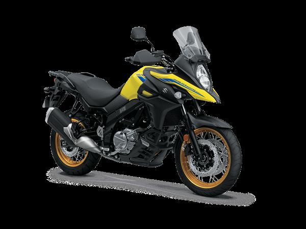 2021 V-Strom 650XT Studio Image - Front 3/4 Angle - Yellow