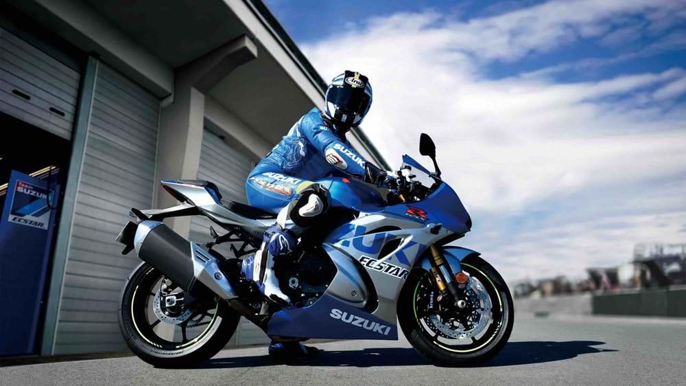 GSX-R1000R rider on bike