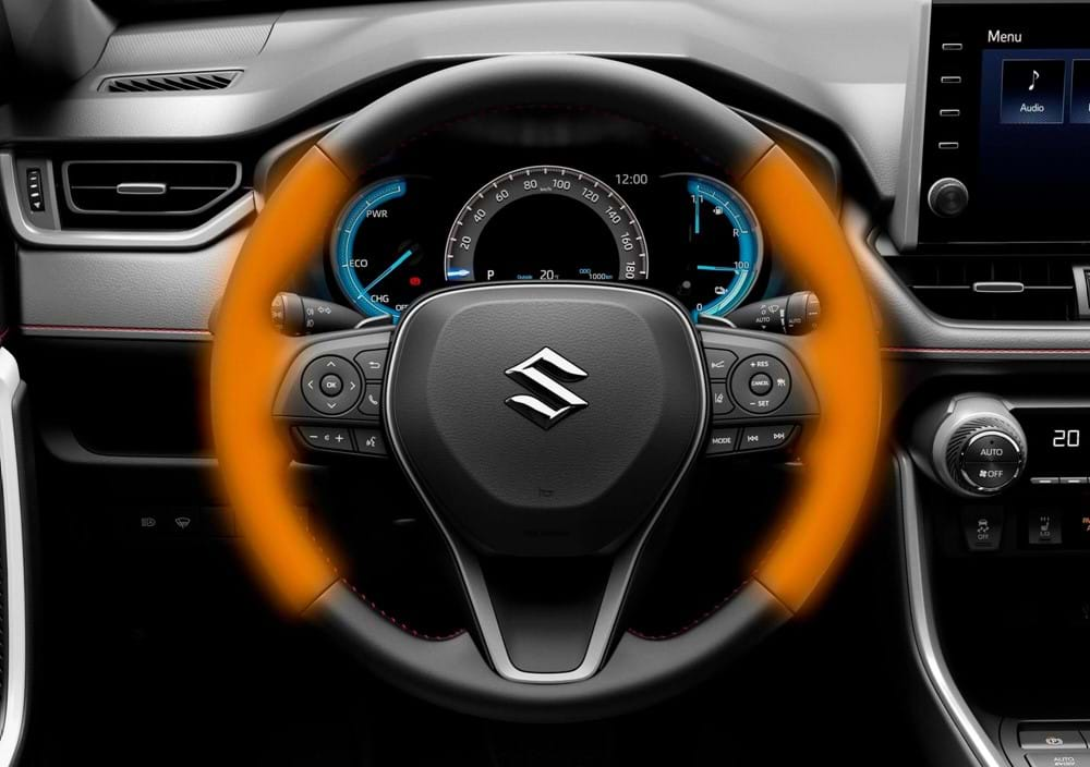 3-spoke leather covered steering wheel with heating