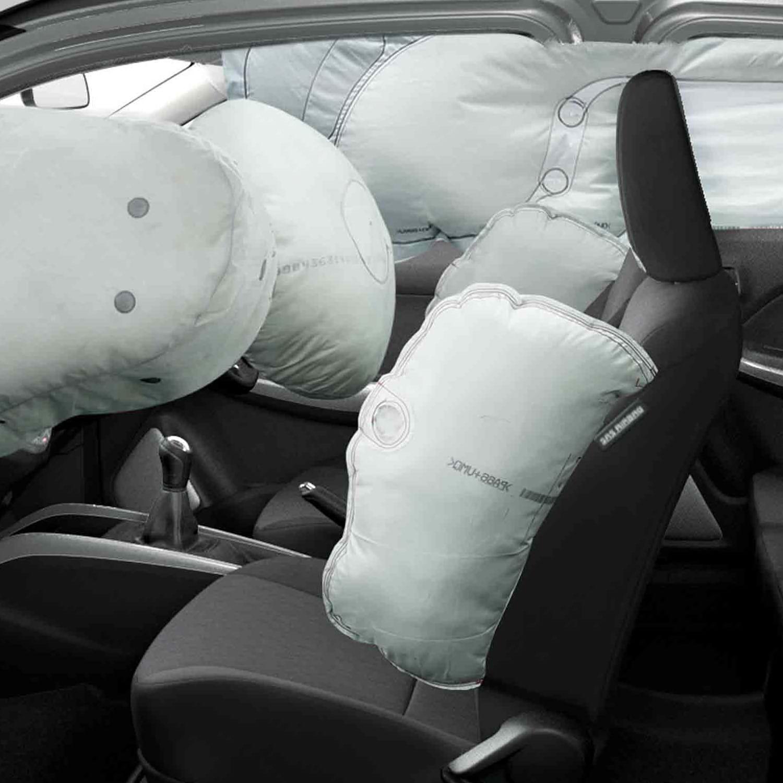 Deployed airbags in the Suzuki SXCross