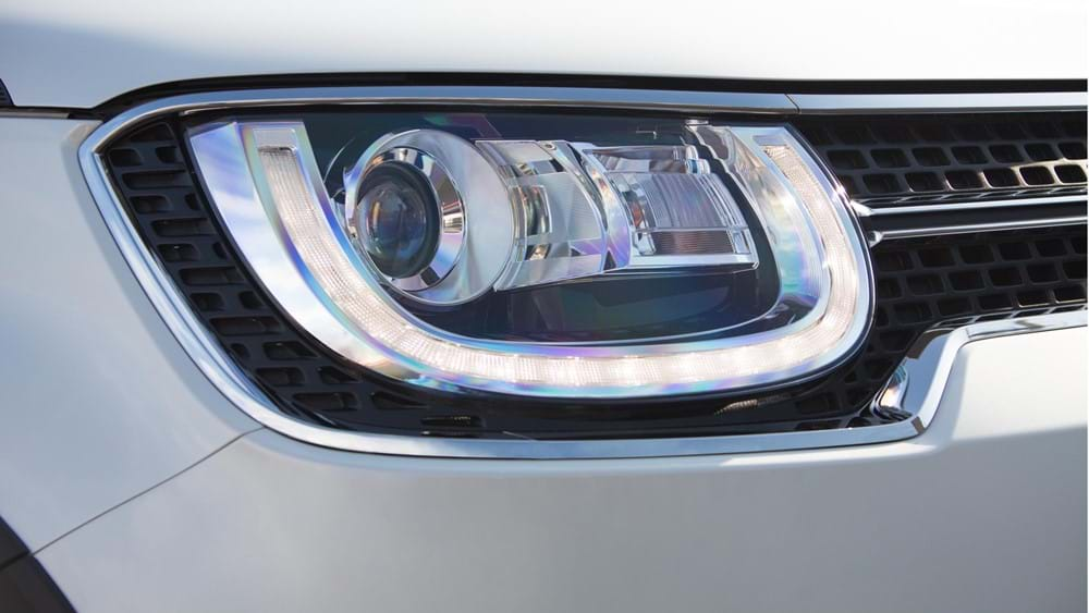 Close up of Suzuki Ignis LED headlights and daytime running lights