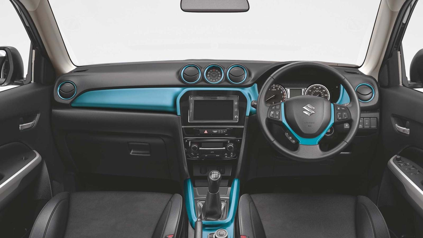 Dashboard and steering wheel with blue detailing