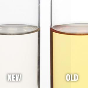 New and old brake fluid comparison.