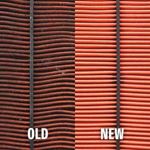New and old air cleaner element comparison.