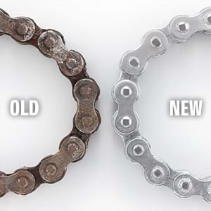 New and old drive chain comparison.