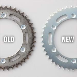 New and old rear sprocket comparison.