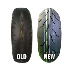 New and old tyres comparison.