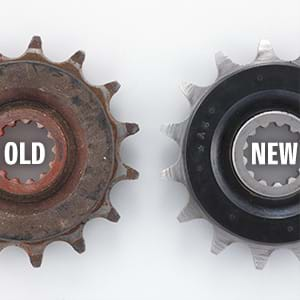 New and old front sprocket comparison.