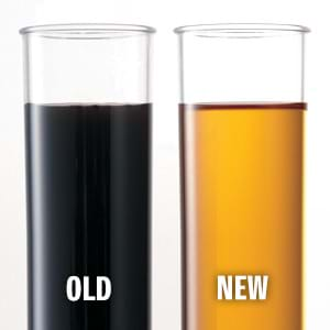 New and old engine oil comparison.