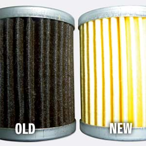 New and old oil filter comparison.