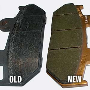 New and old brake pads comparison.