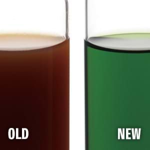 New and old coolant comparison.
