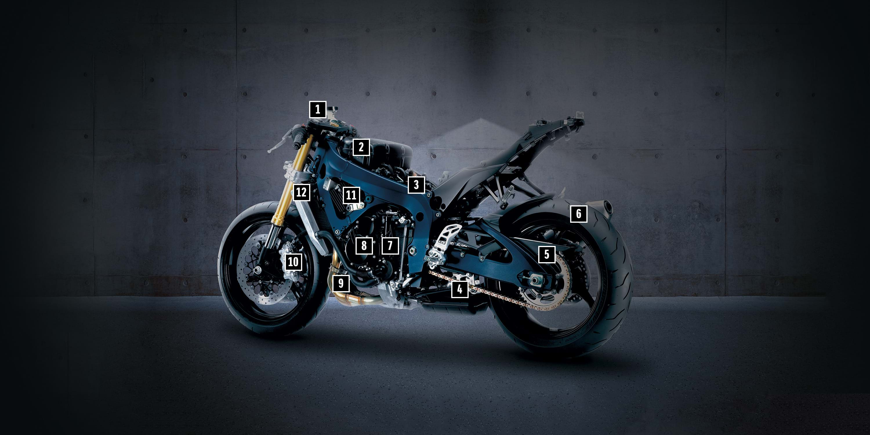 Stripped down bike with numbers elements.