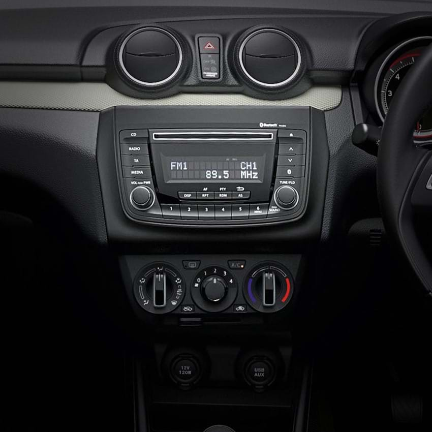 Shot of the Swift's dashboard and CD player
