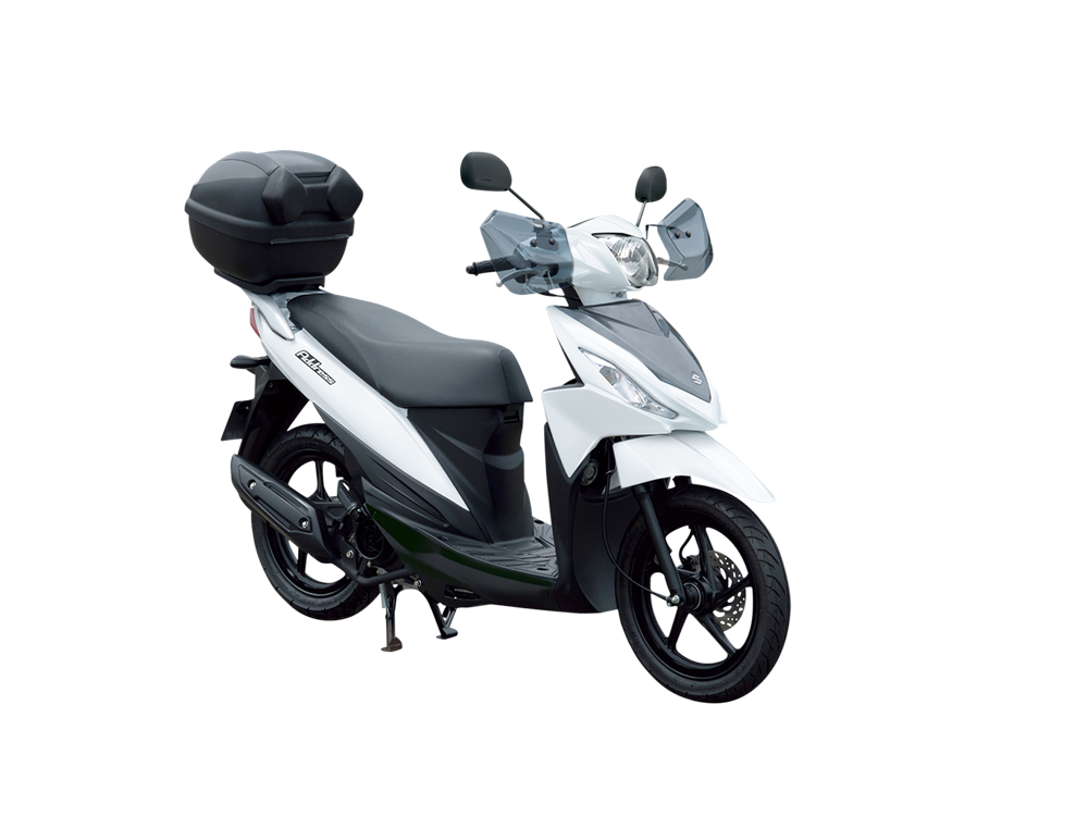White Suzuki Address scooter with commuter accessories